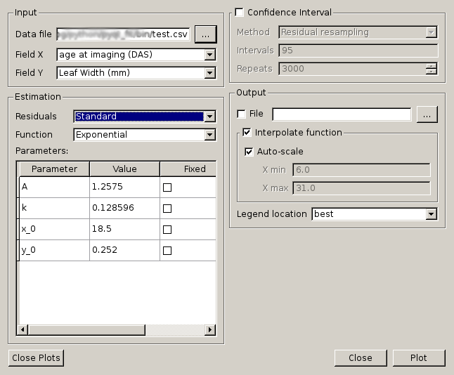 Regression using the GUI - tutorial — PyQt-Fit 1 3 3