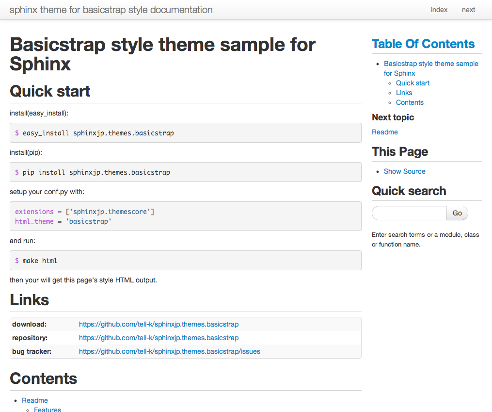Customize the design — sphinx theme for basicstrap style